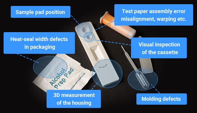 Sample pad position, Test paper assembly error misalignment, warping etc., Heat-seal width defects in packaging, Visual inspection of the cassette, 3D measurement of the housing, Molding defects