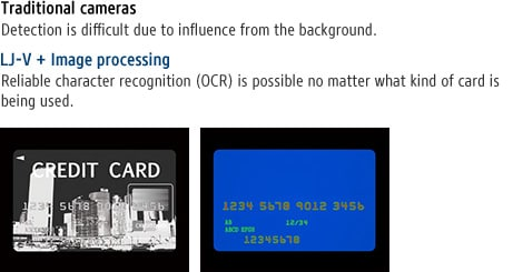 Traditional cameras - Detection is difficult due to influence from the background. / LJ-V + Image processing - Reliable character recognition (OCR) is possible no matter what kind of card is being used.