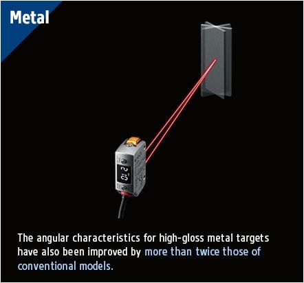 [Metal] The angular characteristics for high-gloss metal targets have also been improved by more than twice those of conventional models. The target can be reliably detected from any angle.