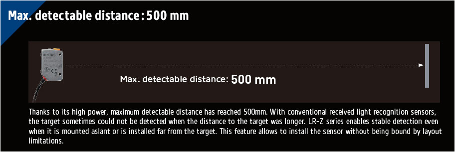 [Max. detectable distance: 500 mm] Thanks to its high power, maximum detectable distance has reached 500mm. With conventional received light recognition sensors, the target sometimes could not be detected when the distance to the target was longer. LR-Z series enables stable detection even when it is mounted aslant or is installed far from the target. This feature allows to install the sensor without being bound by layout limitations.